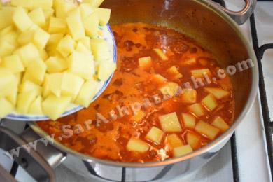 اضافه کردن سیب زمینی