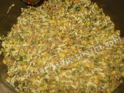 اضافه کردن لپه و برنج