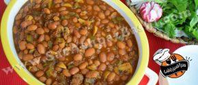 خوراک لوبیا با گوشت و قارچ