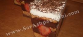 دسر لایه ای کیک و پودینگ شکلاتی