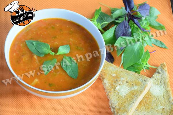 سوپ گوجه تنوری و ریحان