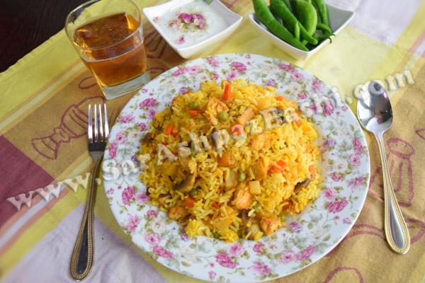 پلو مرغ و سبزیجات