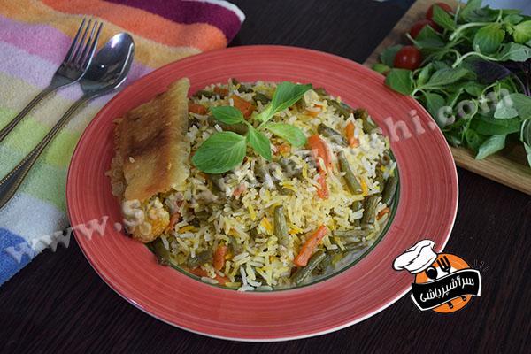 پلو هویج و لوبیا سبز (۳)