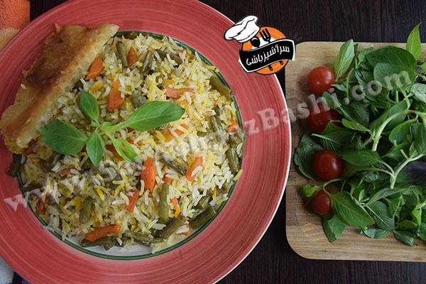 پلو هویج و لوبیا سبز (۴)