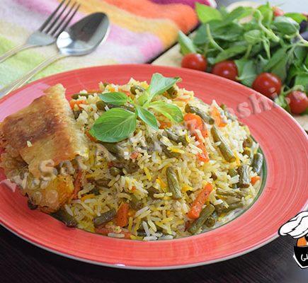 پلو هویج و لوبیا سبز