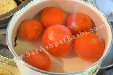 پوست گرفتن گوجه