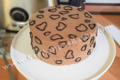 کیک با طرح های شکلاتی