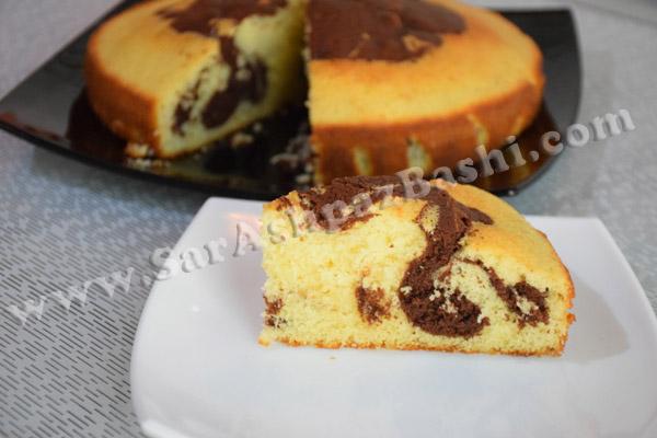 کیک دو رنگ بدون فر
