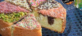 کیک دو رنگ عسلی