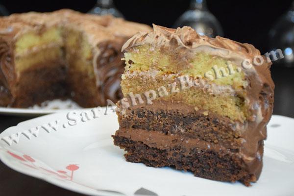 کیک سایه روشن شکلاتی کاراملی